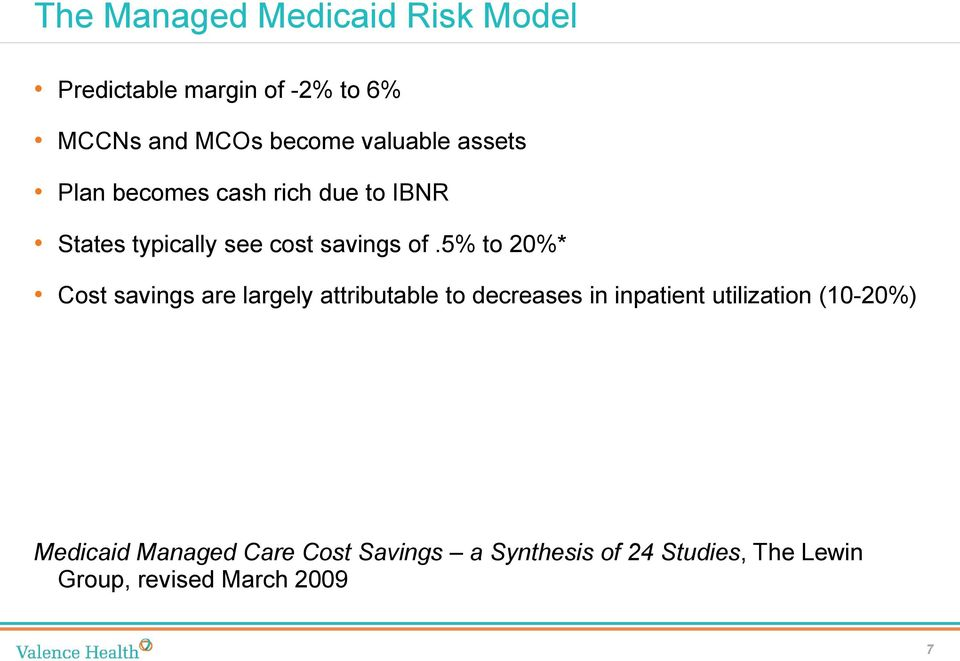5% to 20%* Cost savings are largely attributable to decreases in inpatient utilization