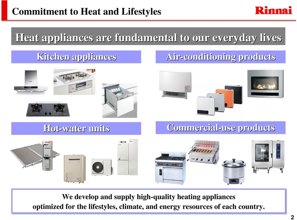 Commercial-use products We develop and supply high-quality heating
