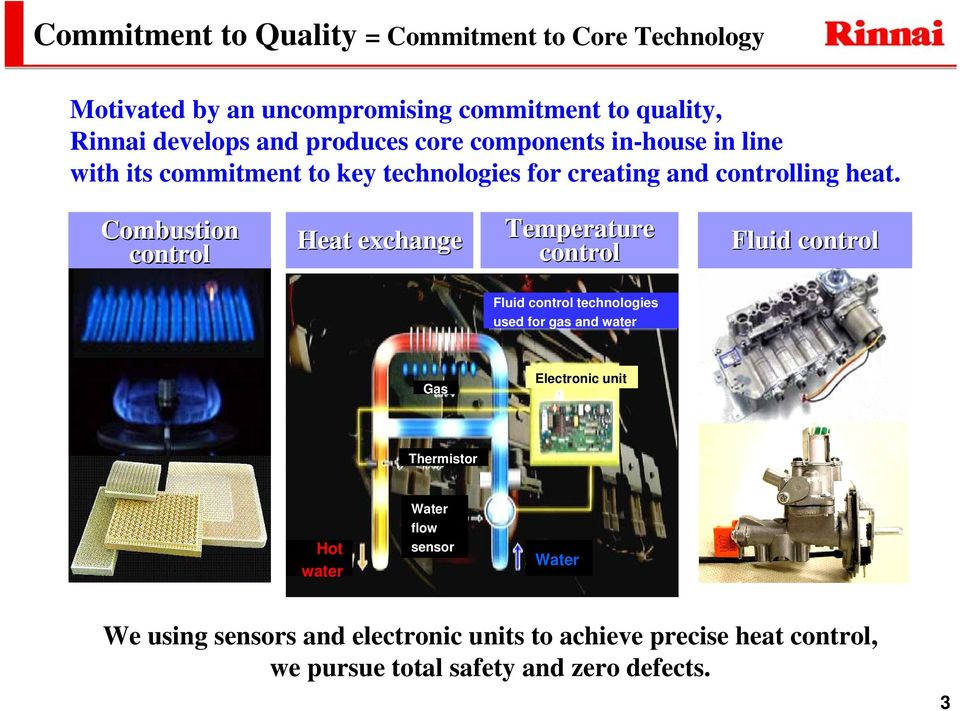 Combustion control Heat exchange Temperature control Fluid control Fluid control technologies used for gas and water Gas Electronic
