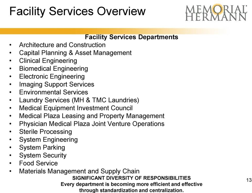 and Property Management Physician Medical Plaza Joint Venture Operations Sterile Processing System Engineering System Parking System Security Food Service Materials