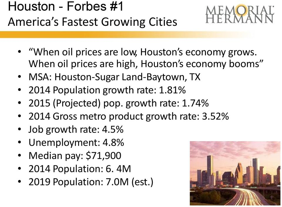 growth rate: 1.81% 2015 (Projected) pop. growth rate: 1.74% 2014 Gross metro product growth rate: 3.