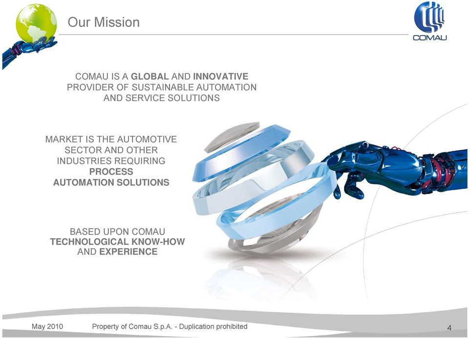 INDUSTRIES REQUIRING PROCESS AUTOMATION SOLUTIONS BASED UPON COMAU