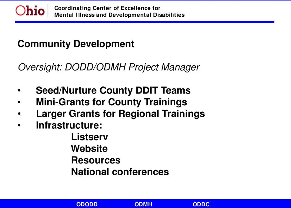 County Trainings Larger Grants for Regional Trainings