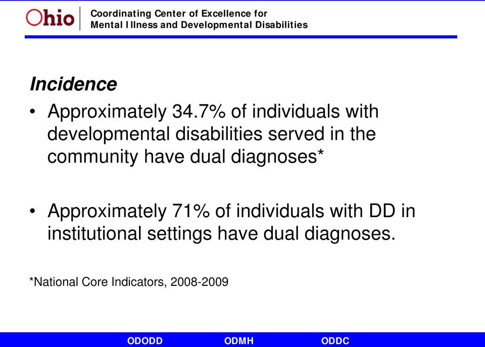 the community have dual diagnoses* Approximately 71% of