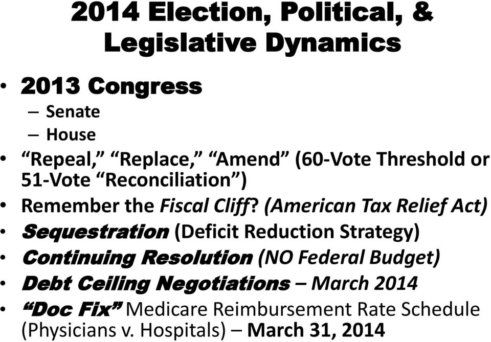 (American Tax Relief Act) Sequestration (Deficit Reduction Strategy) Continuing Resolution (NO