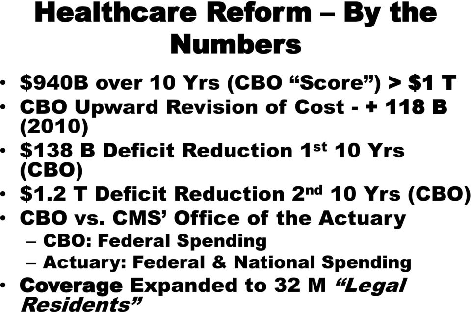 2 T Deficit Reduction 2 nd 10 Yrs (CBO) CBO vs.