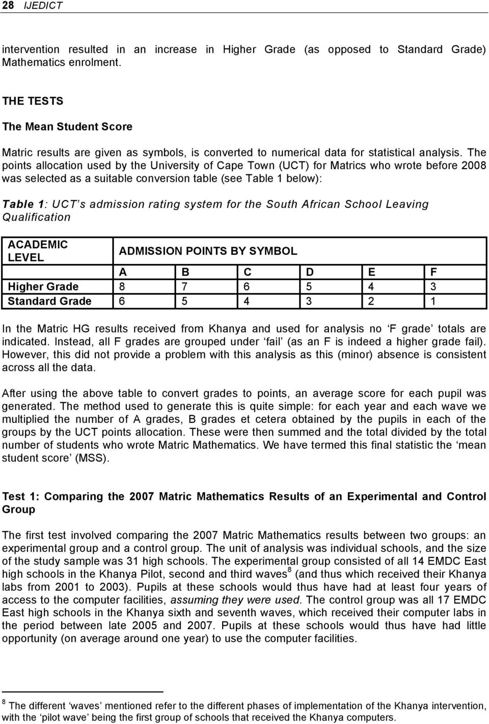 The points allocation used by the University of Cape Town (UCT) for Matrics who wrote before 2008 was selected as a suitable conversion table (see Table 1 below): Table 1: UCT s admission rating