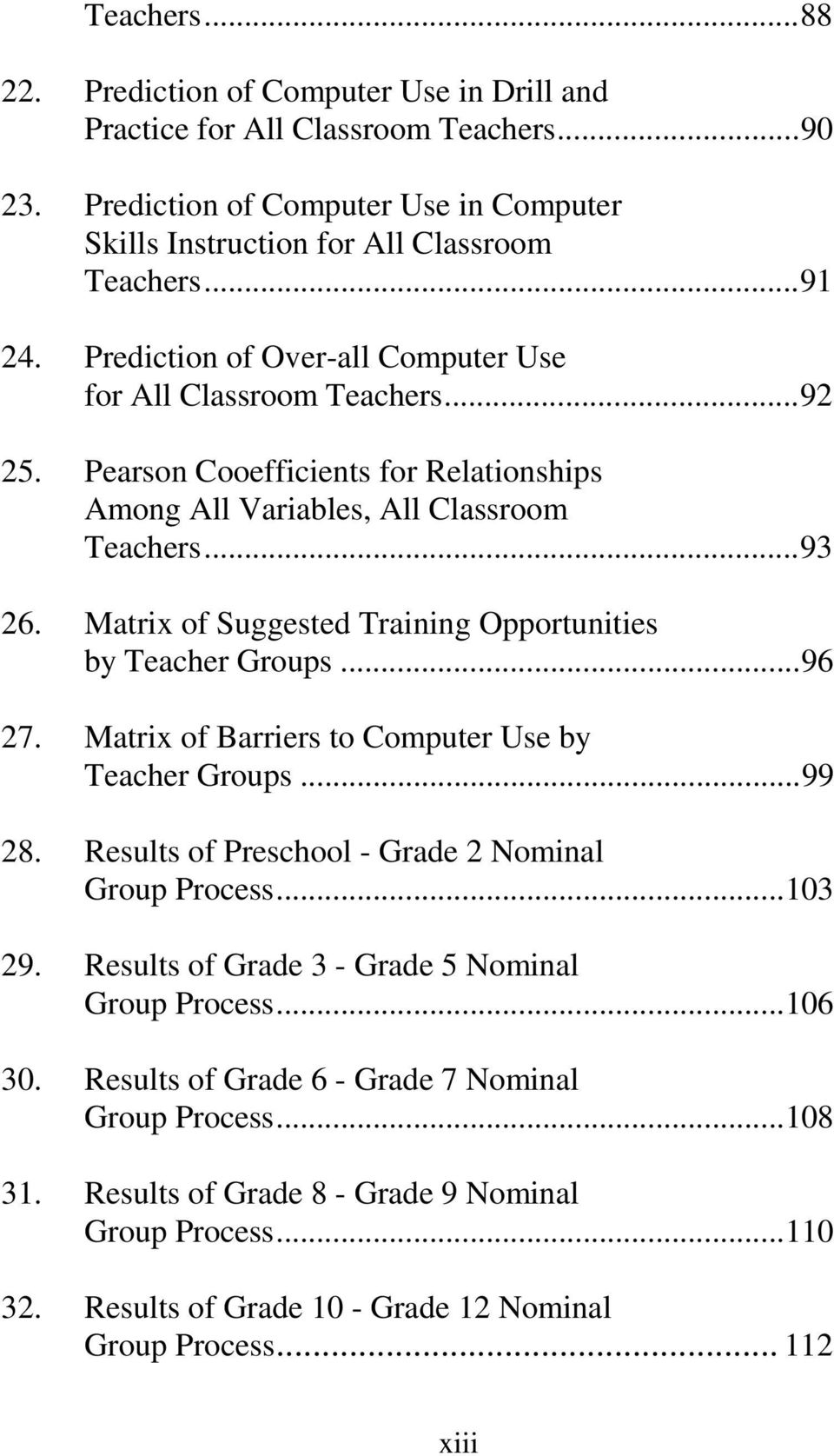 Matrix of Suggested Training Opportunities by Teacher Groups...96 27. Matrix of Barriers to Computer Use by Teacher Groups...99 28. Results of Preschool - Grade 2 Nominal Group Process...103 29.