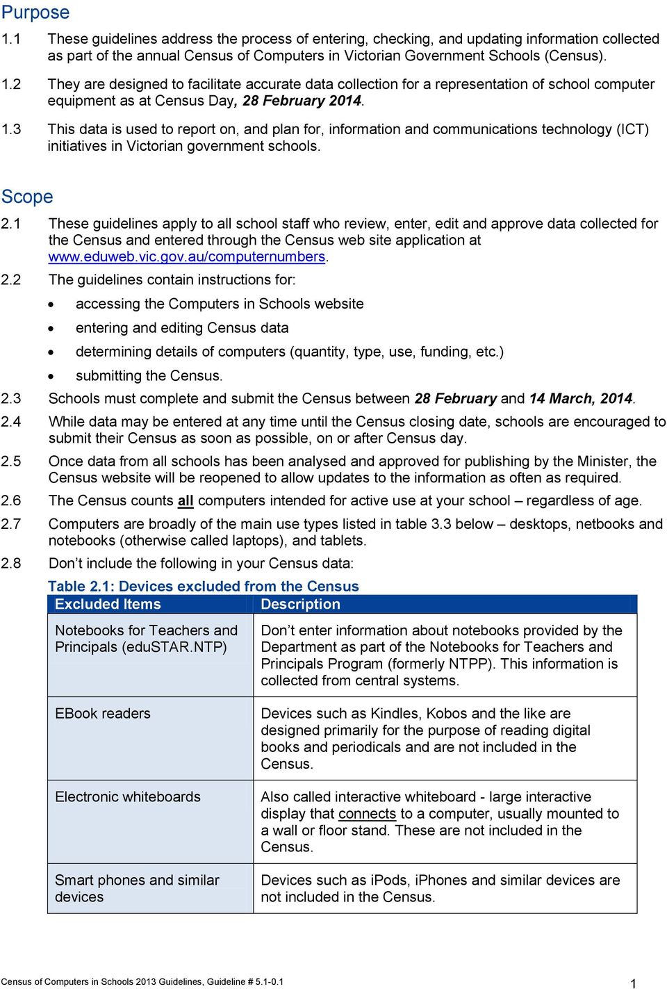 1 These guidelines apply to all school staff who review, enter, edit and approve data collected for Census and entered through Census web site application at www.eduweb.vic.gov.au/computernumbers. 2.