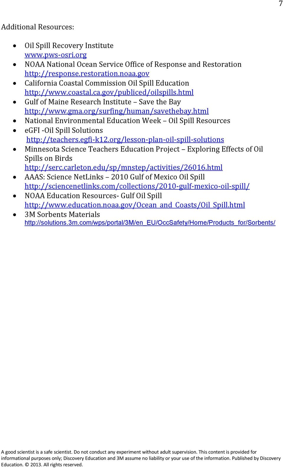 html National Environmental Education Week Oil Spill Resources egfi -Oil Spill Solutions http://teachers.egfi-k12.