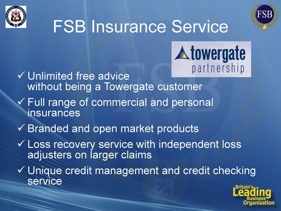open market products Loss recovery service with independent loss