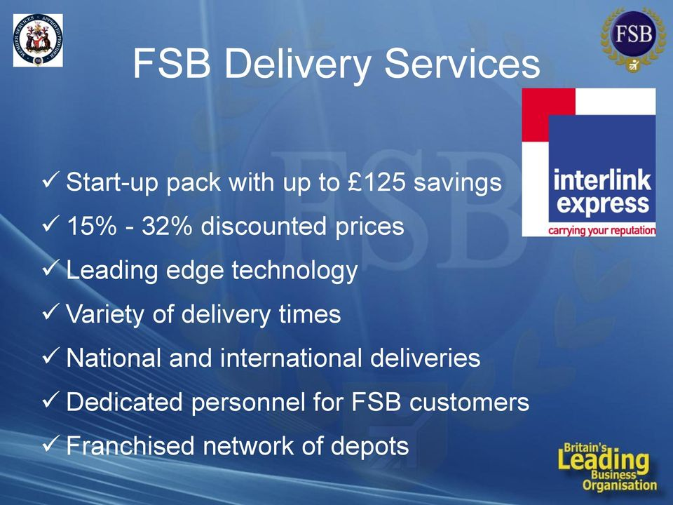 of delivery times National and international deliveries