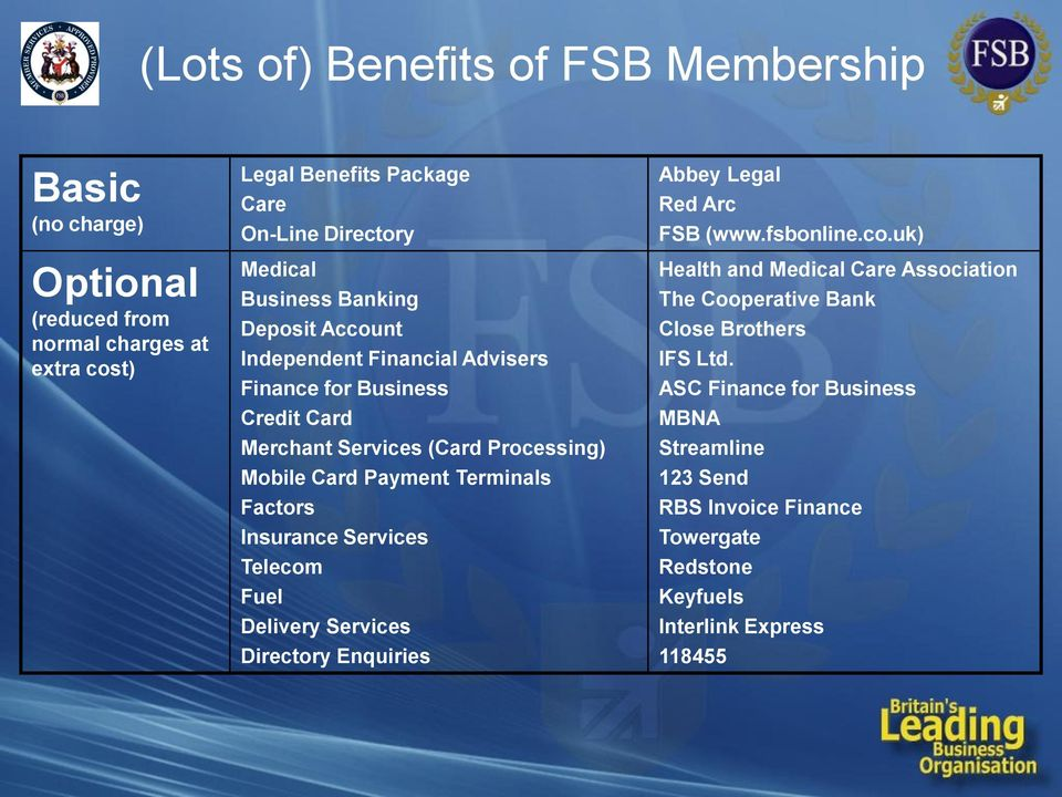 Factors Insurance Services Telecom Fuel Delivery Services Directory Enquiries Abbey Legal Red Arc FSB (www.fsbonline.co.uk) Health and Medical Care Association The Cooperative Bank Close Brothers IFS Ltd.