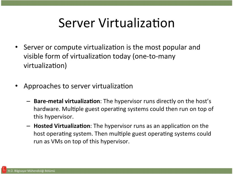 hardware. MulAple guest operaang systems could then run on top of this hypervisor.