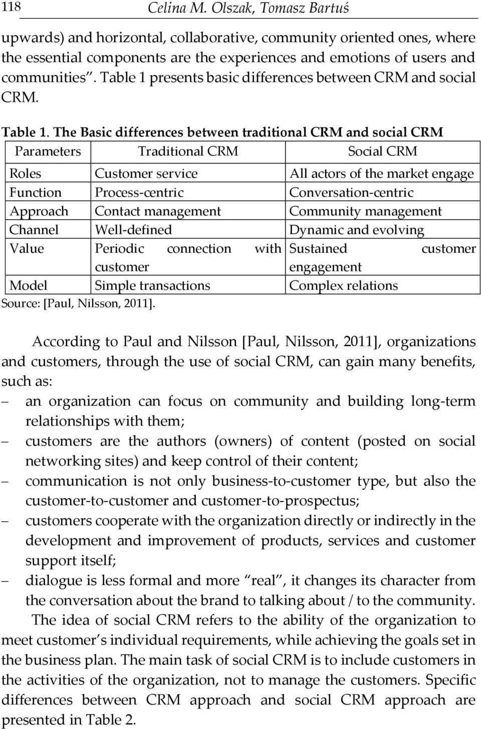 The Basic differences between traditional CRM and social CRM Parameters Traditional CRM Social CRM Roles Customer service All actors of the market engage Function Process-centric Conversation-centric