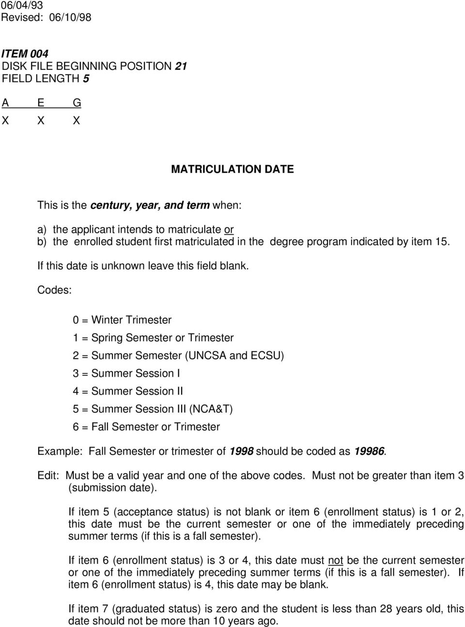 Codes: 0 = Winter Trimester 1 = Spring Semester or Trimester 2 = Summer Semester (UNCSA and ECSU) 3 = Summer Session I 4 = Summer Session II 5 = Summer Session III (NCA&T) 6 = Fall Semester or