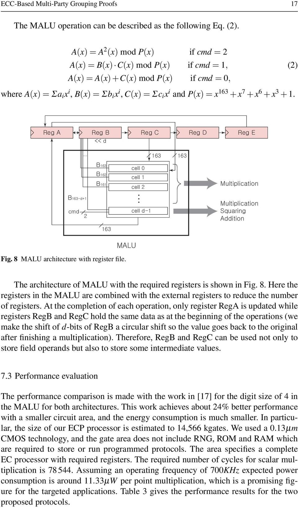 + x 3 + 1. Fig. 8 MALU architecture with register file. The architecture of MALU with the required registers is shown in Fig. 8. Here the registers in the MALU are combined with the external registers to reduce the number of registers.