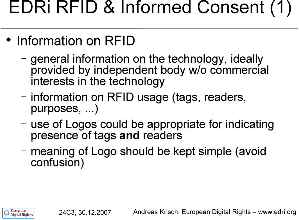 technology information on RFID usage (tags, readers, purposes,.