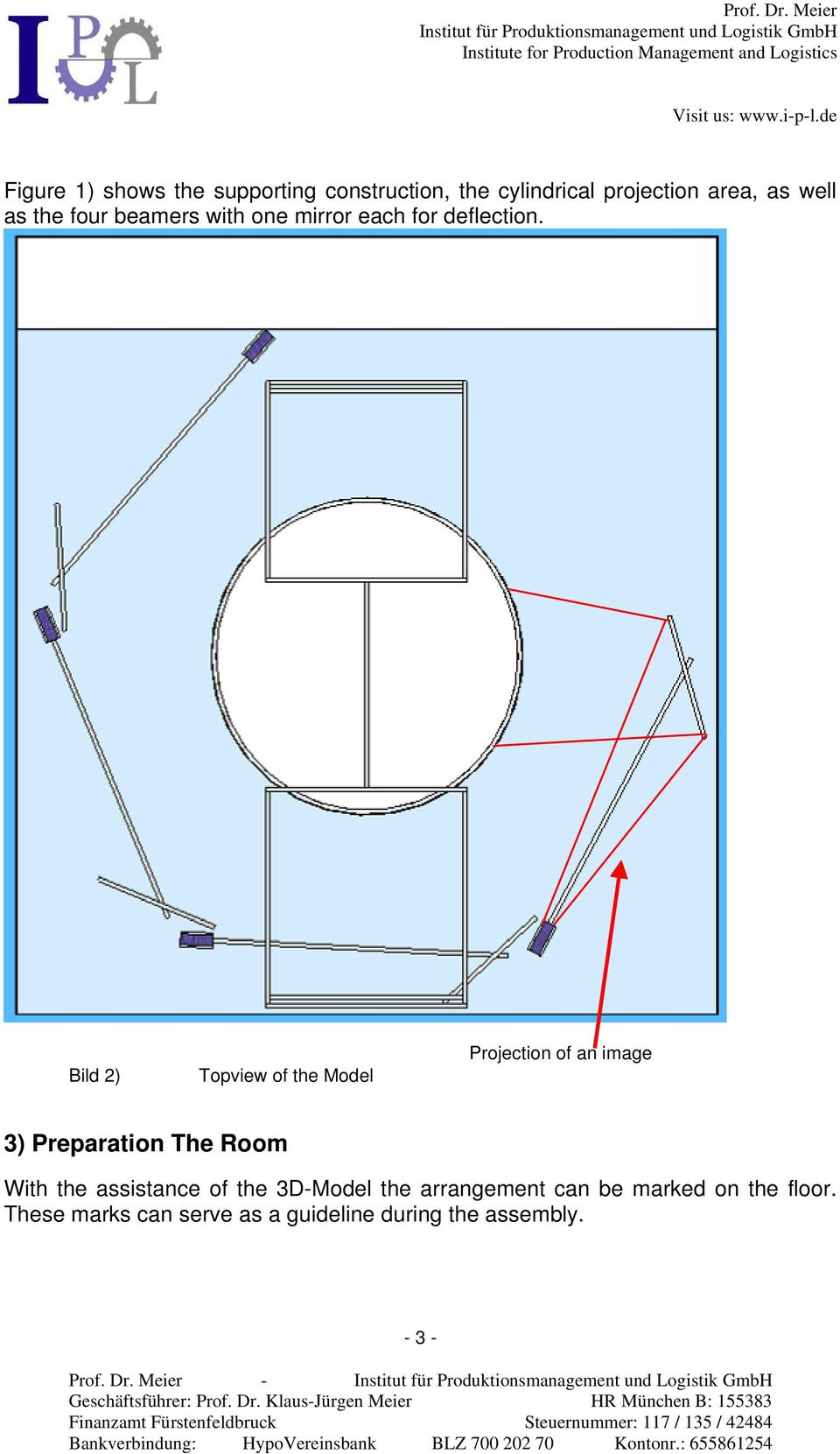 Bild 2) Topview of the Model Projection of an image 3) Preparation The Room With the