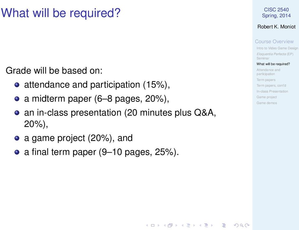 presentation (20 minutes plus Q&A, 20%), a game