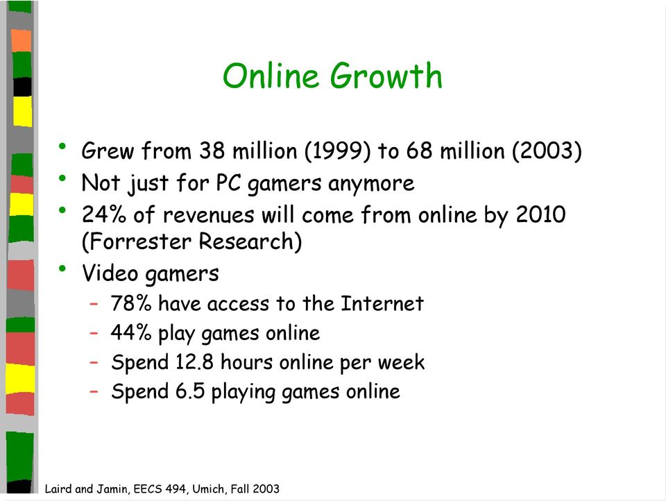 (Forrester Research) Video gamers 78% have access to the Internet 44%