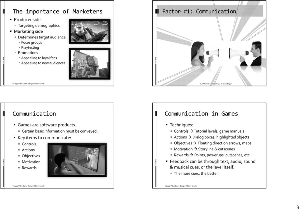 Key items to communicate: Controls Actions Objectives Motivation Rewards Communication in Games Techniques: Controls Tutorial levels, game manuals Actions Dialog boxes, highlighted