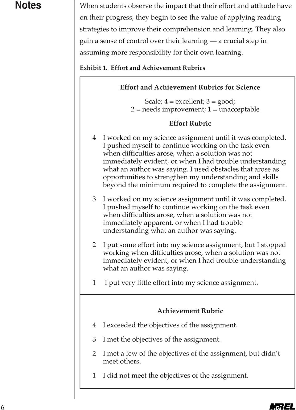 Effort and Achievement Rubrics Effort and Achievement Rubrics for Science Scale: 4 = excellent; 3 = good; 2 = needs improvement; 1 = unacceptable Effort Rubric 4 I worked on my science assignment