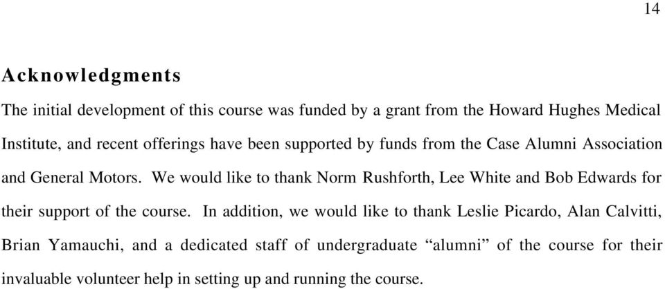 We would like to thank Norm Rushforth, Lee White and Bob Edwards for their support of the course.