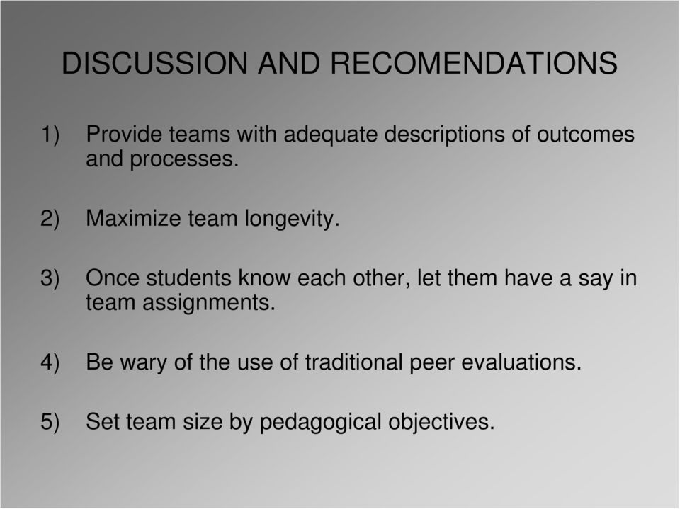3) Once students know each other, let them have a say in team assignments.