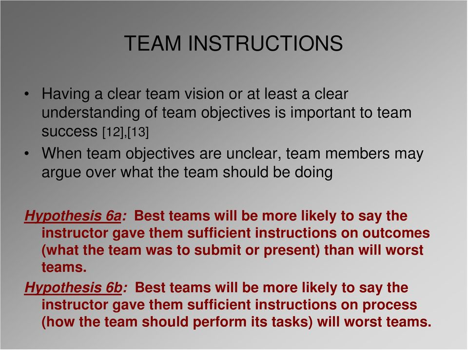 instructor gave them sufficient instructions on outcomes (what the team was to submit or present) than will worst teams.