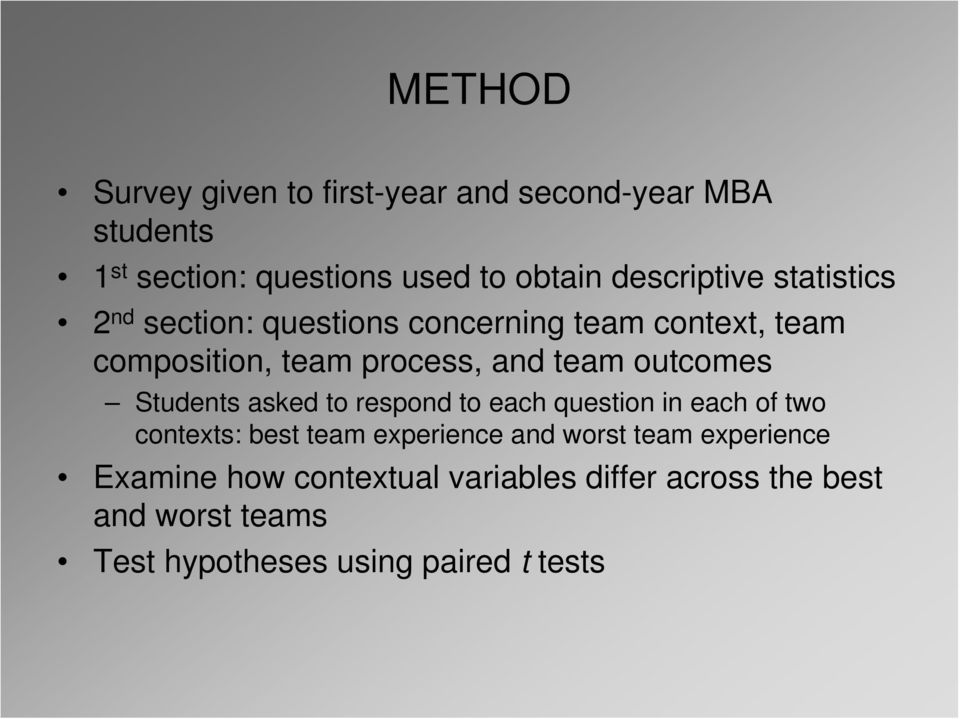 team outcomes Students asked to respond to each question in each of two contexts: best team experience and
