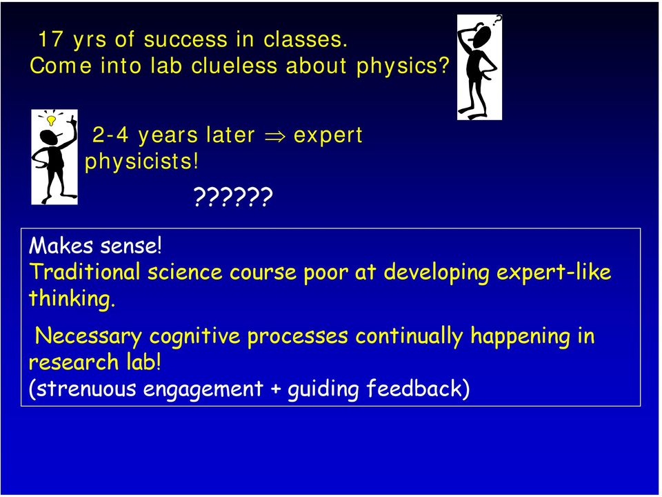 Traditional science course poor at developing expert-like thinking.