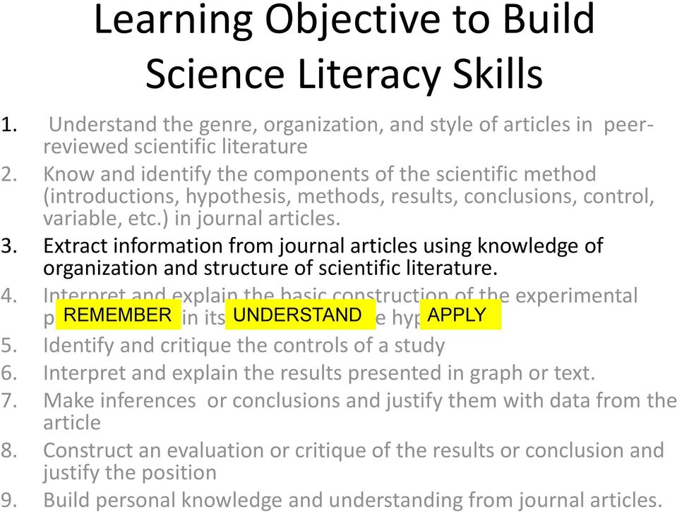 Extract information from journal articles using knowledge of organization and structure of scientific literature. 4.
