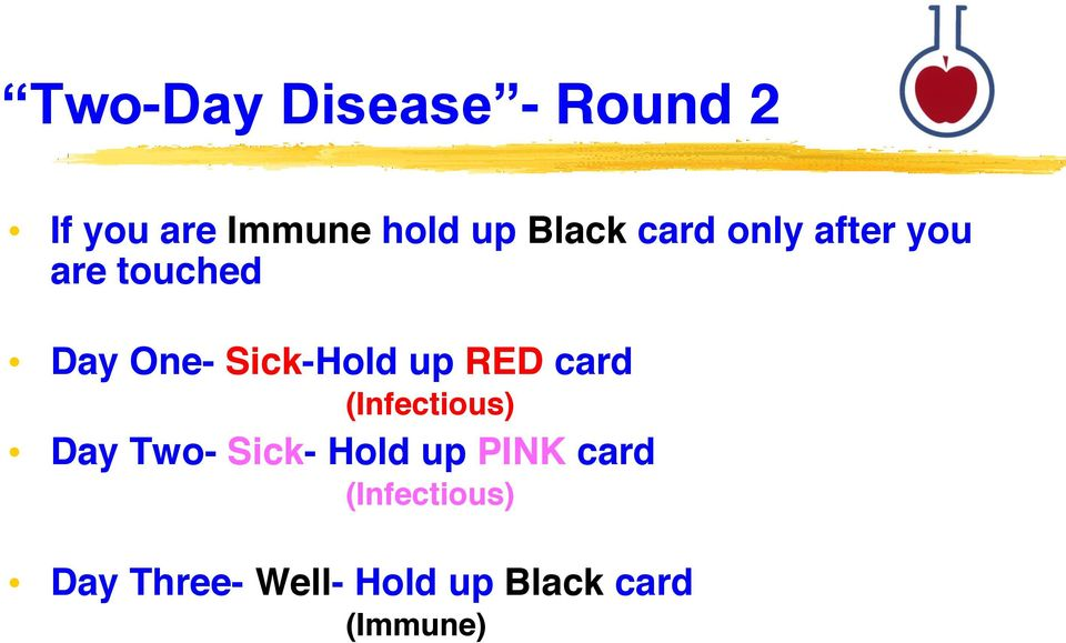 Sick-Hold up RED card (Infectious) Day Two- Sick- Hold