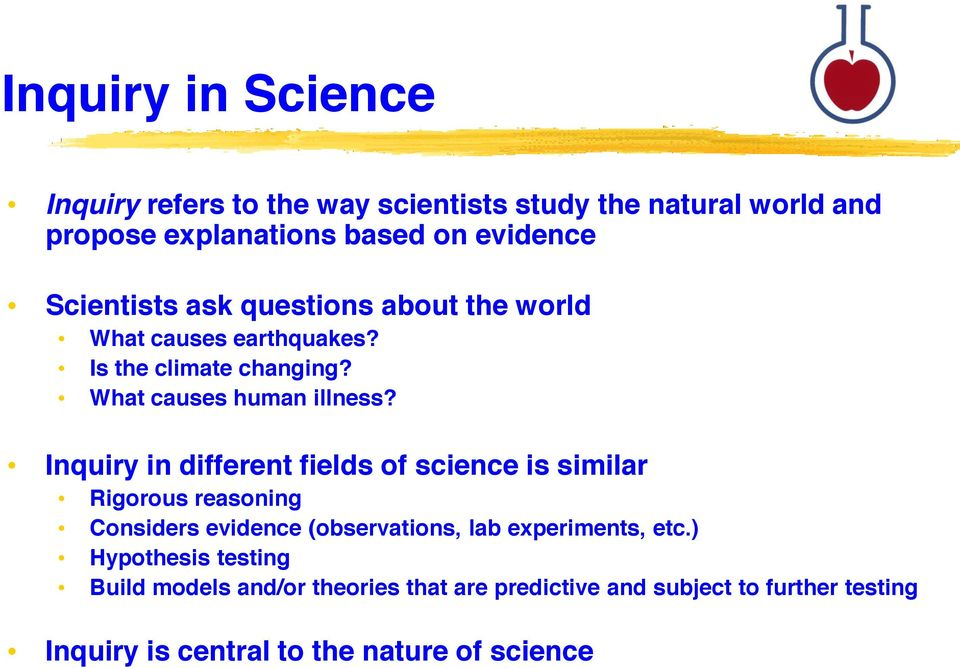 Inquiry in different fields of science is similar Rigorous reasoning Considers evidence (observations, lab experiments, etc.