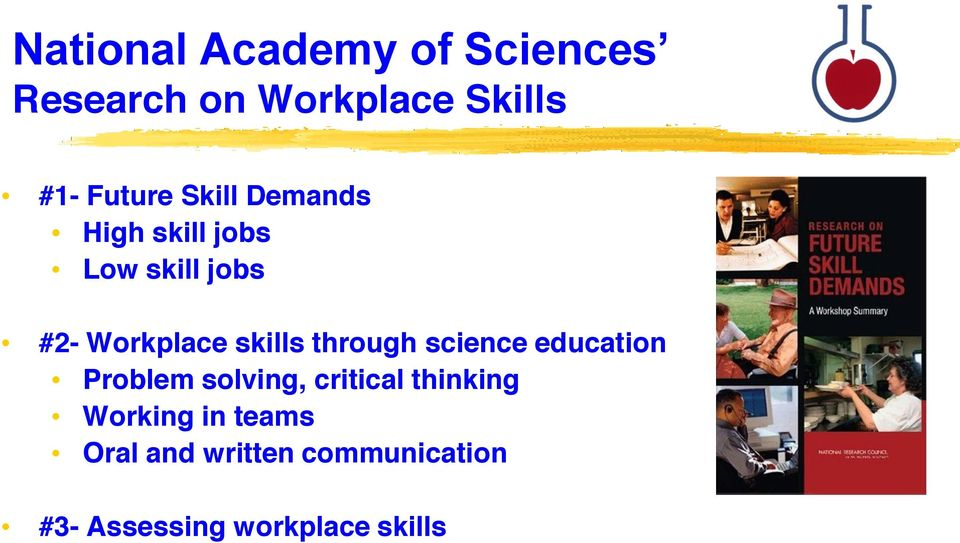 through science education Problem solving, critical thinking Working