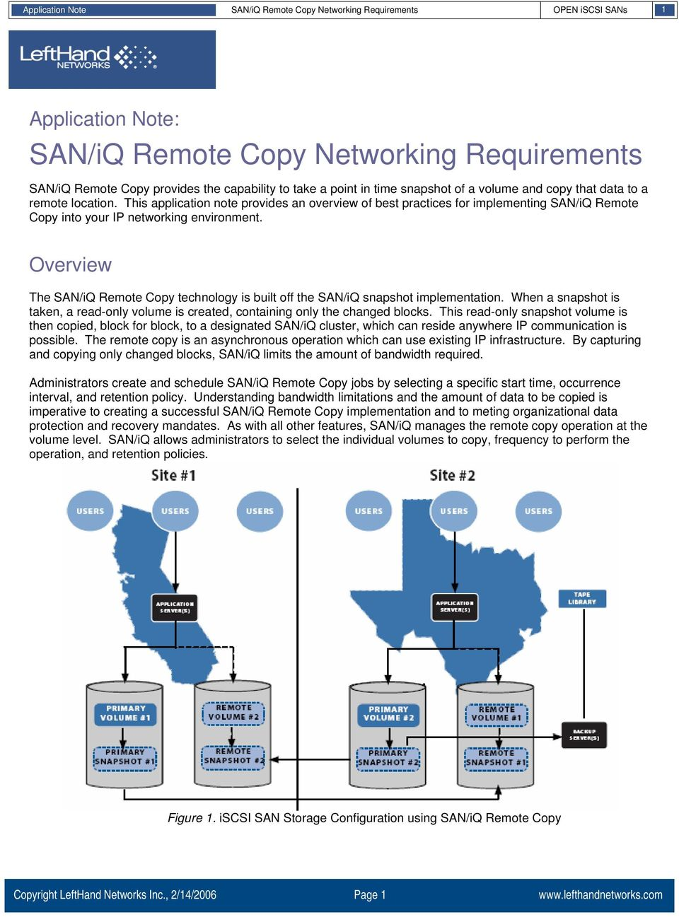 Overview The SAN/iQ Remote Copy technology is built off the SAN/iQ snapshot implementation. When a snapshot is taken, a read-only volume is created, containing only the changed blocks.