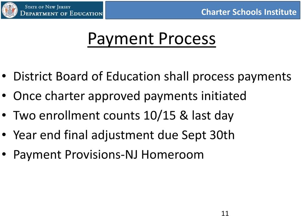 initiated Two enrollment counts 10/15 & last day Year