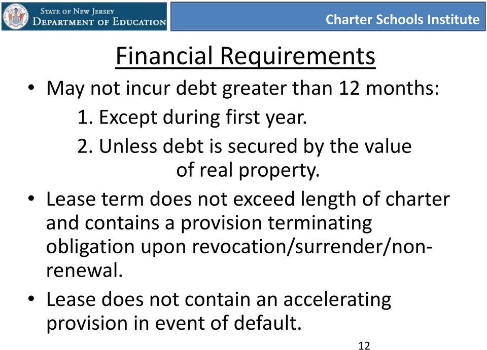 Lease term does not exceed length of charter and contains a provision terminating