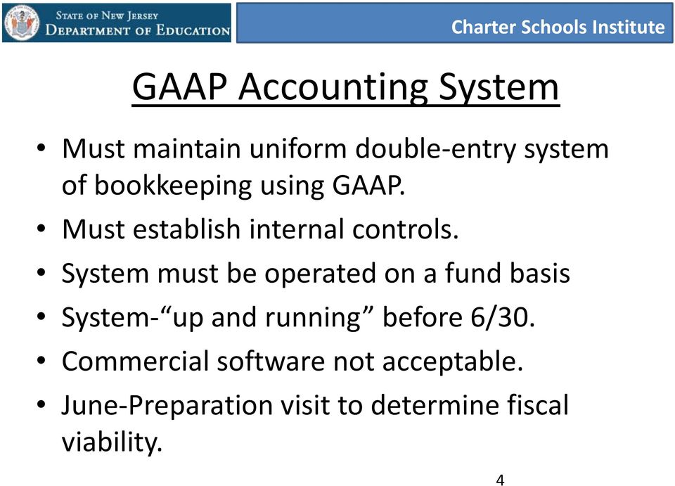 System must be operated on a fund basis System- up and running before