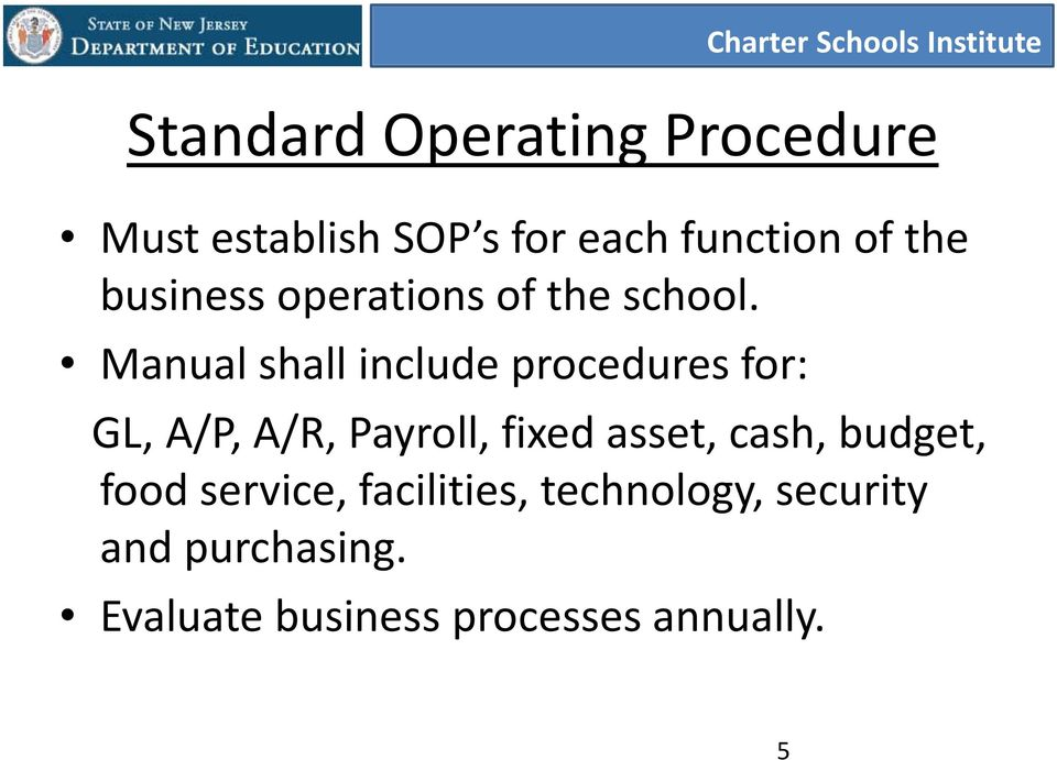 Manual shall include procedures for: GL, A/P, A/R, Payroll, fixed asset,