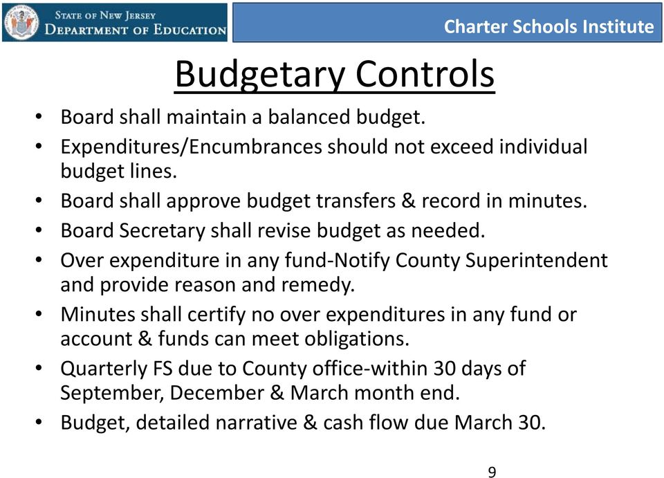 Board Secretary shall revise budget as needed. Over expenditure in any fund-notify County Superintendent and provide reason and remedy.