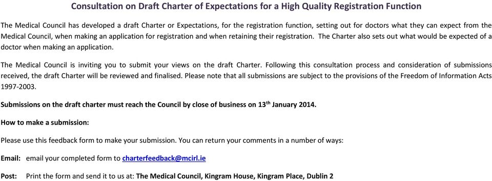 The Charter also sets out what would be expected of a doctor when making an application. The Medical Council is inviting you to submit your views on the draft Charter.