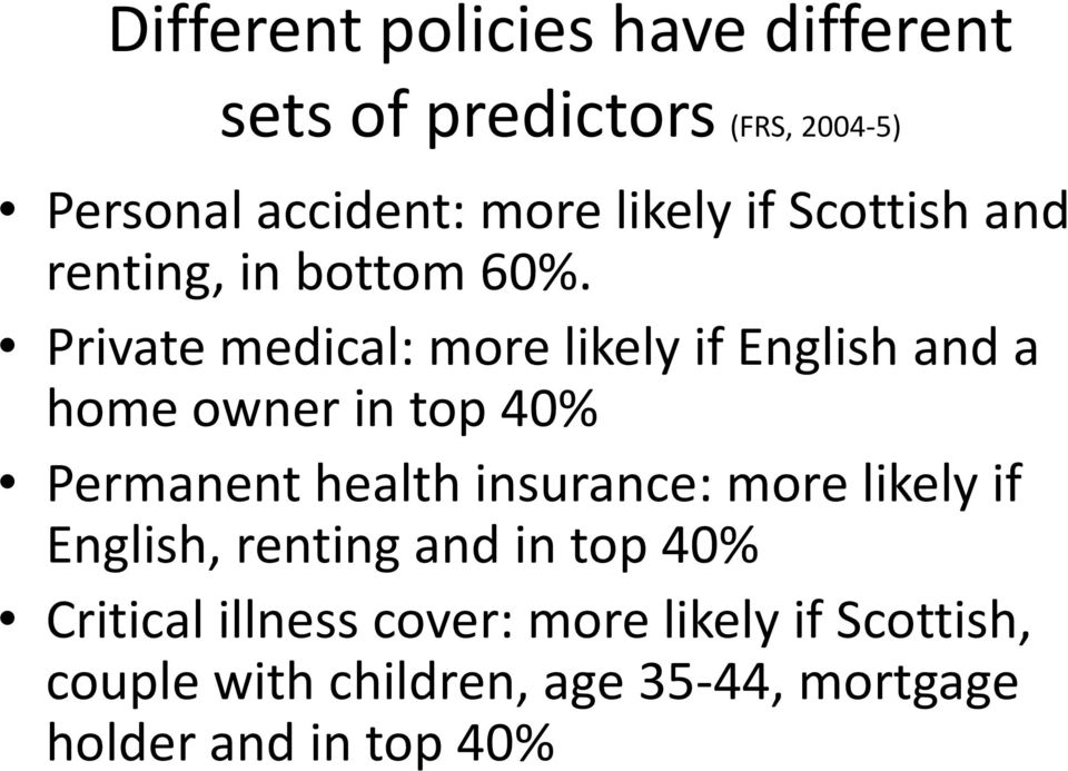 Private medical: more likely if English and a home owner in top 40% Permanent health insurance: