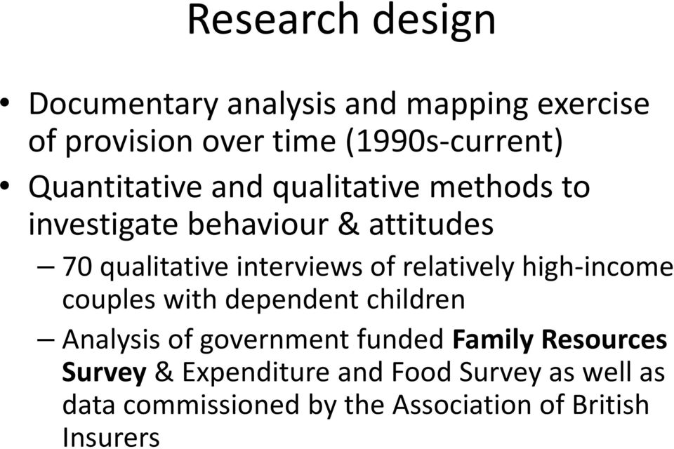 of relatively high-income couples with dependent children Analysis of government funded Family