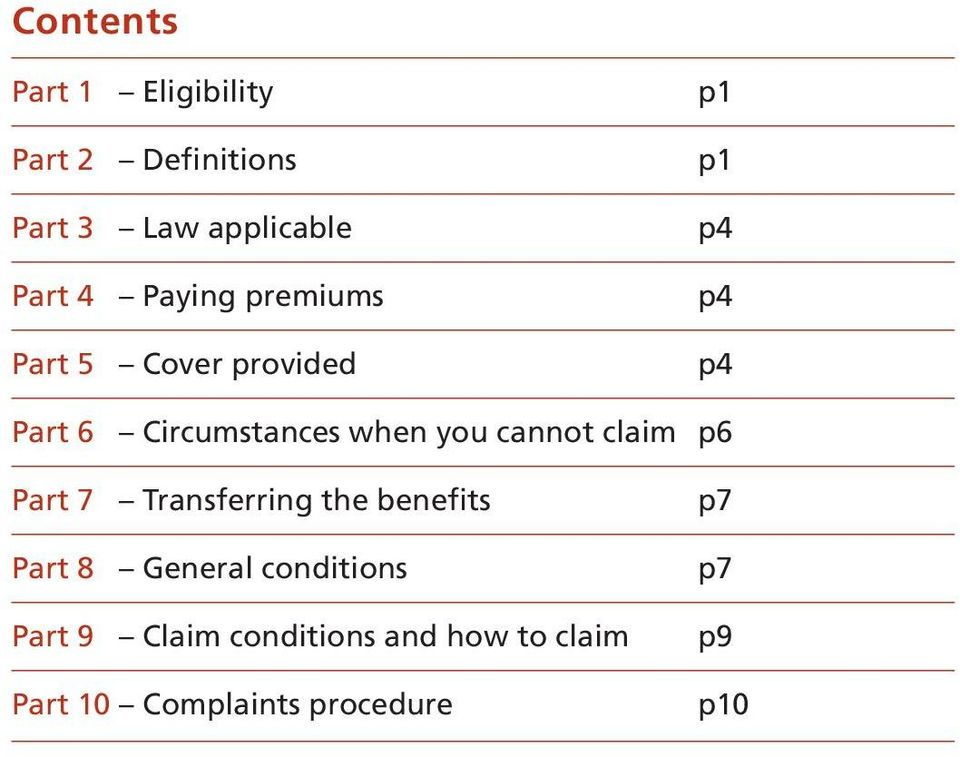 you cannot claim p6 Part 7 Transferring the benefits p7 Part 8 General