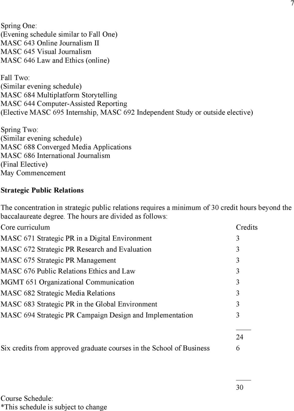 Converged Media Applications MASC 686 International Journalism (Final Elective) May Commencement Strategic Public Relations The concentration in strategic public relations requires a minimum of 30