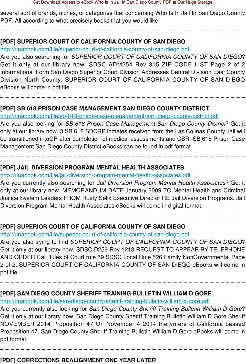 pdf Are you also searching for SUPERIOR COURT OF CALIFORNIA COUNTY OF SAN DIEGO? Get it only at our library now.