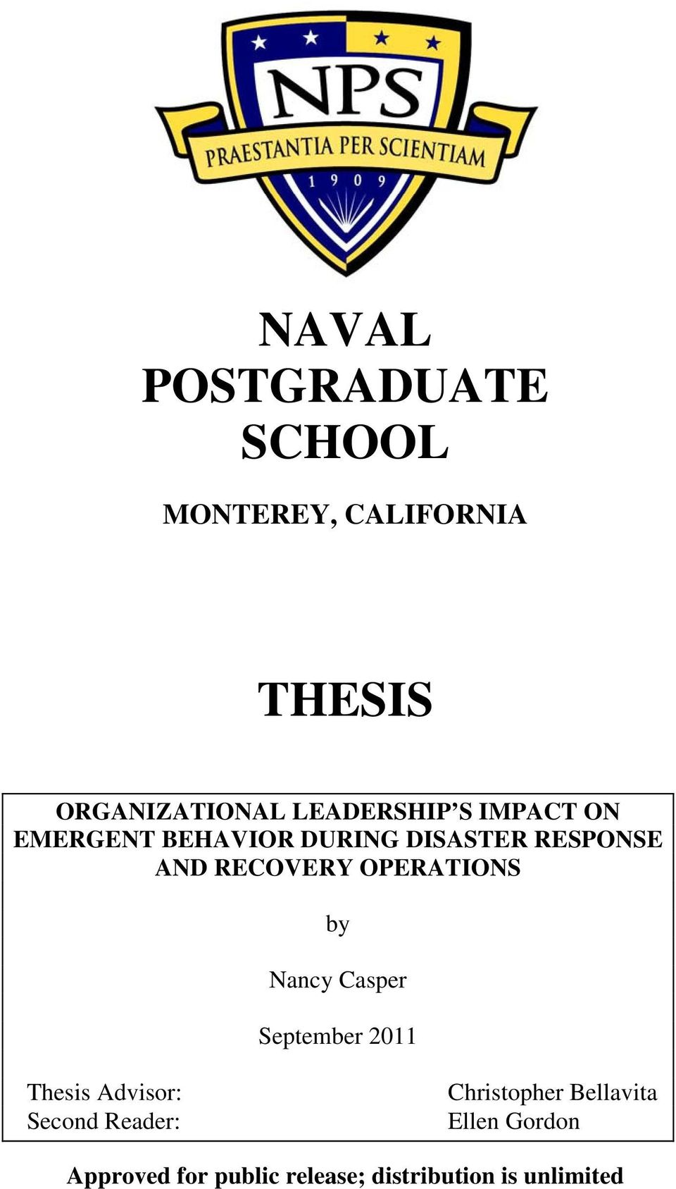 RECOVERY OPERATIONS by Nancy Casper September 2011 Thesis Advisor: Second