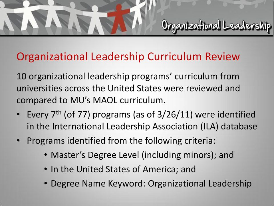 Every 7 th (of 77) programs (as of 3/26/11) were identified in the International Leadership Association (ILA) database